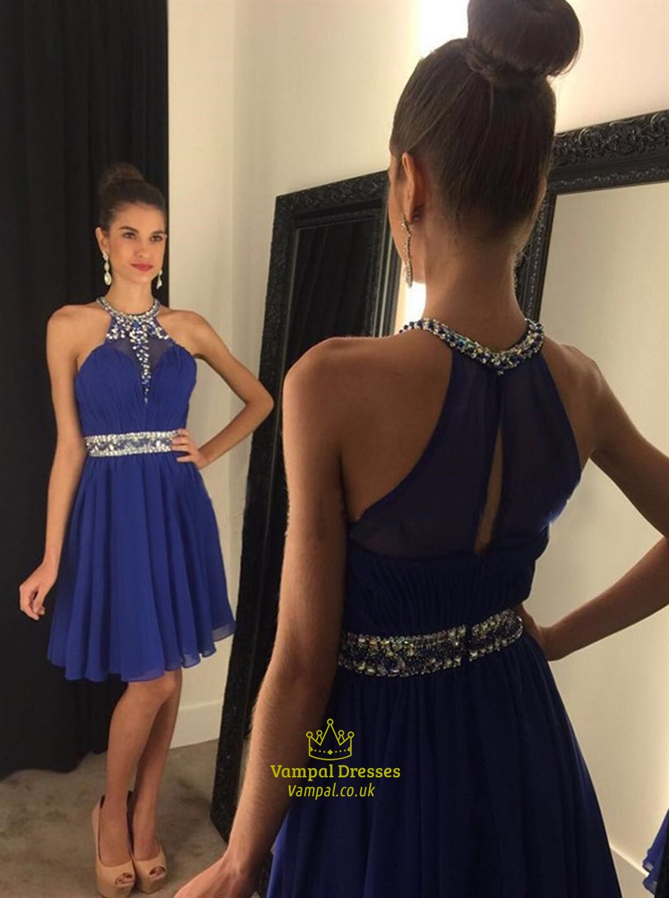 Royal Blue High Neck Beaded Sleeveless Short Cocktail