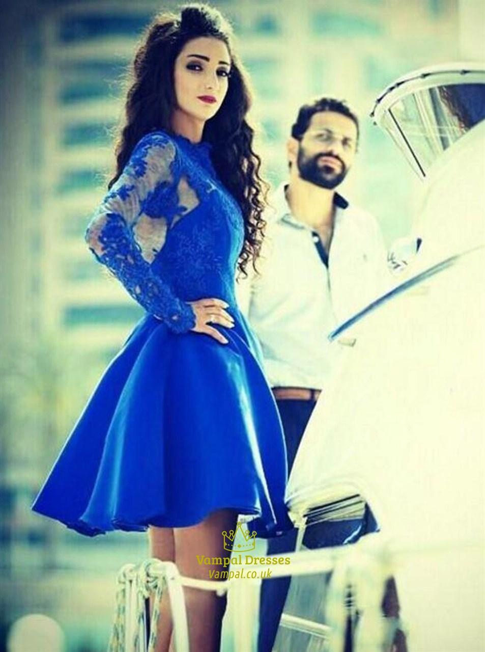 royal blue sheer lace applique long sleeve short party