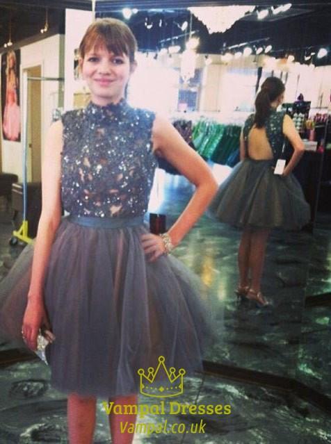 ba0a552371c High Neck Embellished Bodice Short Prom Dress With Keyhole Back SKU -FS1303