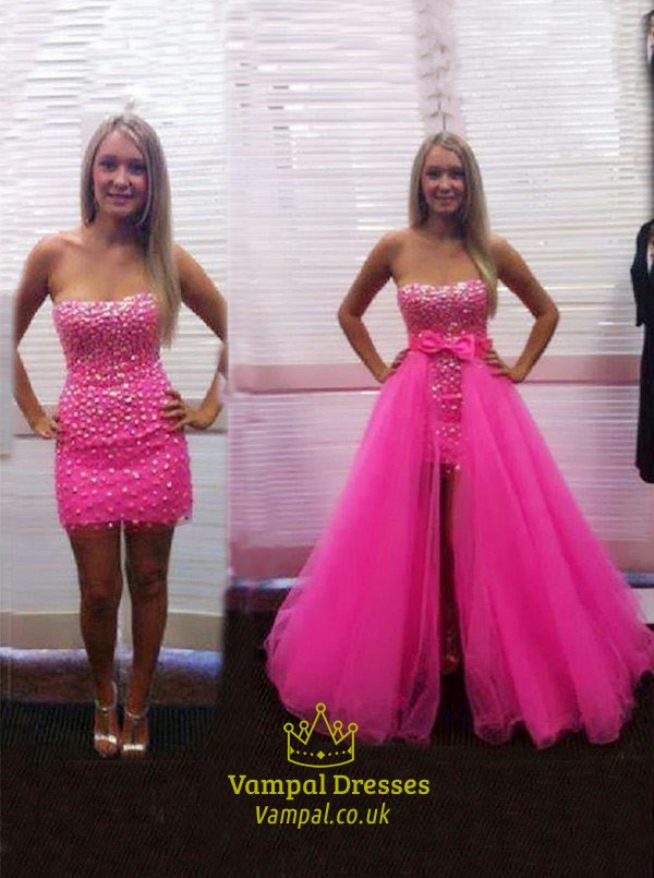 Hot Pink Strapless Beaded Prom Dresses With Detachable Skirts ...
