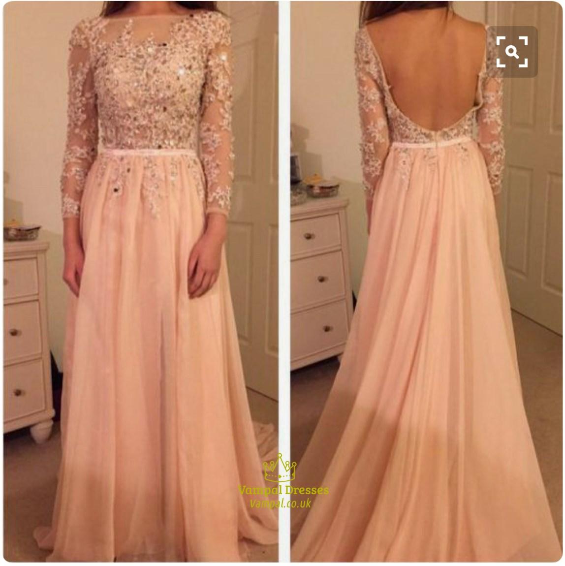 Blush Pink Illusion Lace Long Sleeve Backless Full Length