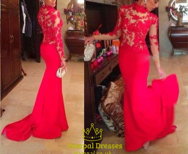 Red High Neck Sheer Lace Applique Long Sleeve Mermaid Prom