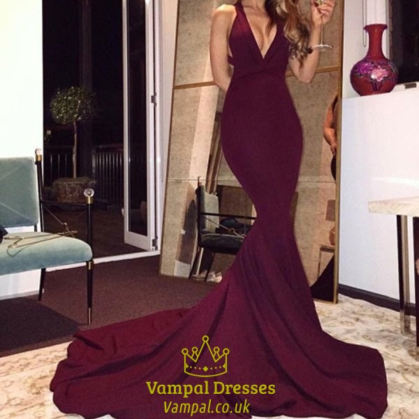9a4f936ae0fb Burgundy Elegant V Neck Open Back Mermaid Prom Dress With Long Train ...