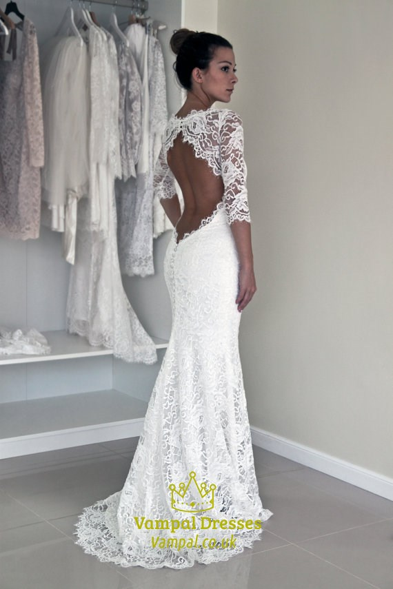 White Long Sleeve Backless Lace Mermaid Full Length Wedding Dresses ...