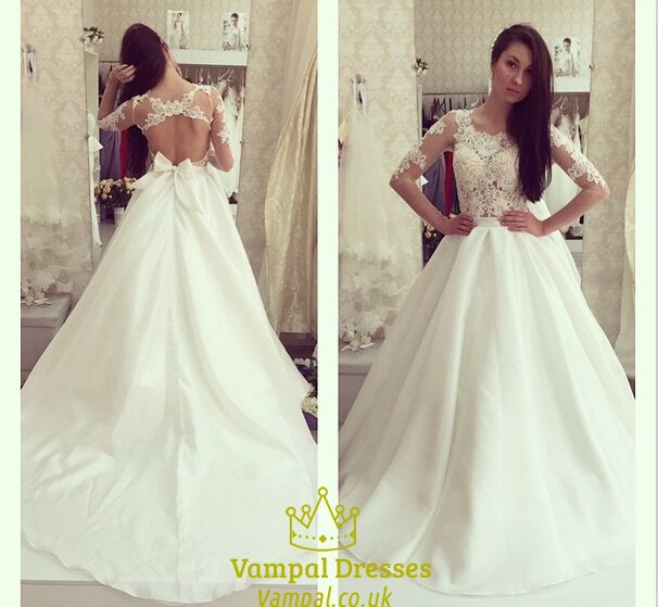 4df5b665d9 Ivory Sheer Long Sleeve Open Back Ball Gown Wedding Dress With Bow SKU  -FS1412