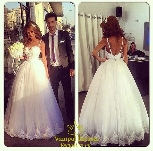 White Sweetheart Spaghetti Strap Lace Bodice Ball Gown Wedding Dress ...