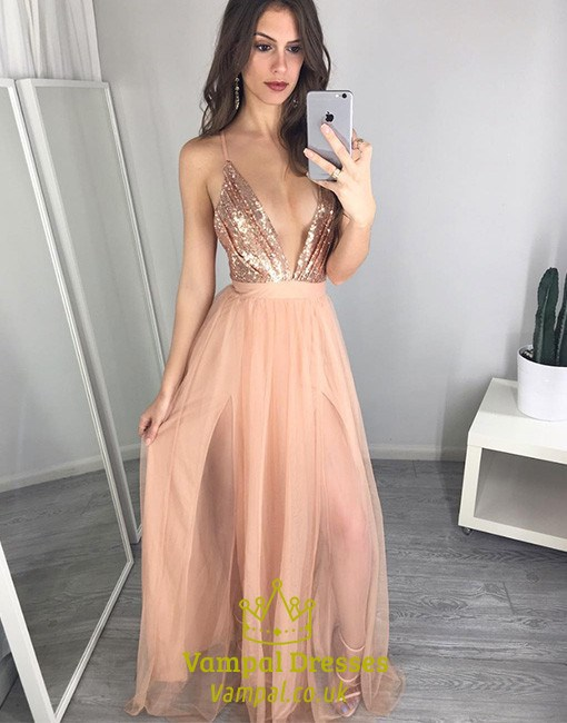 Peach Spaghetti Strap Deep V Neck Backless Sequin Top Prom Dress ...