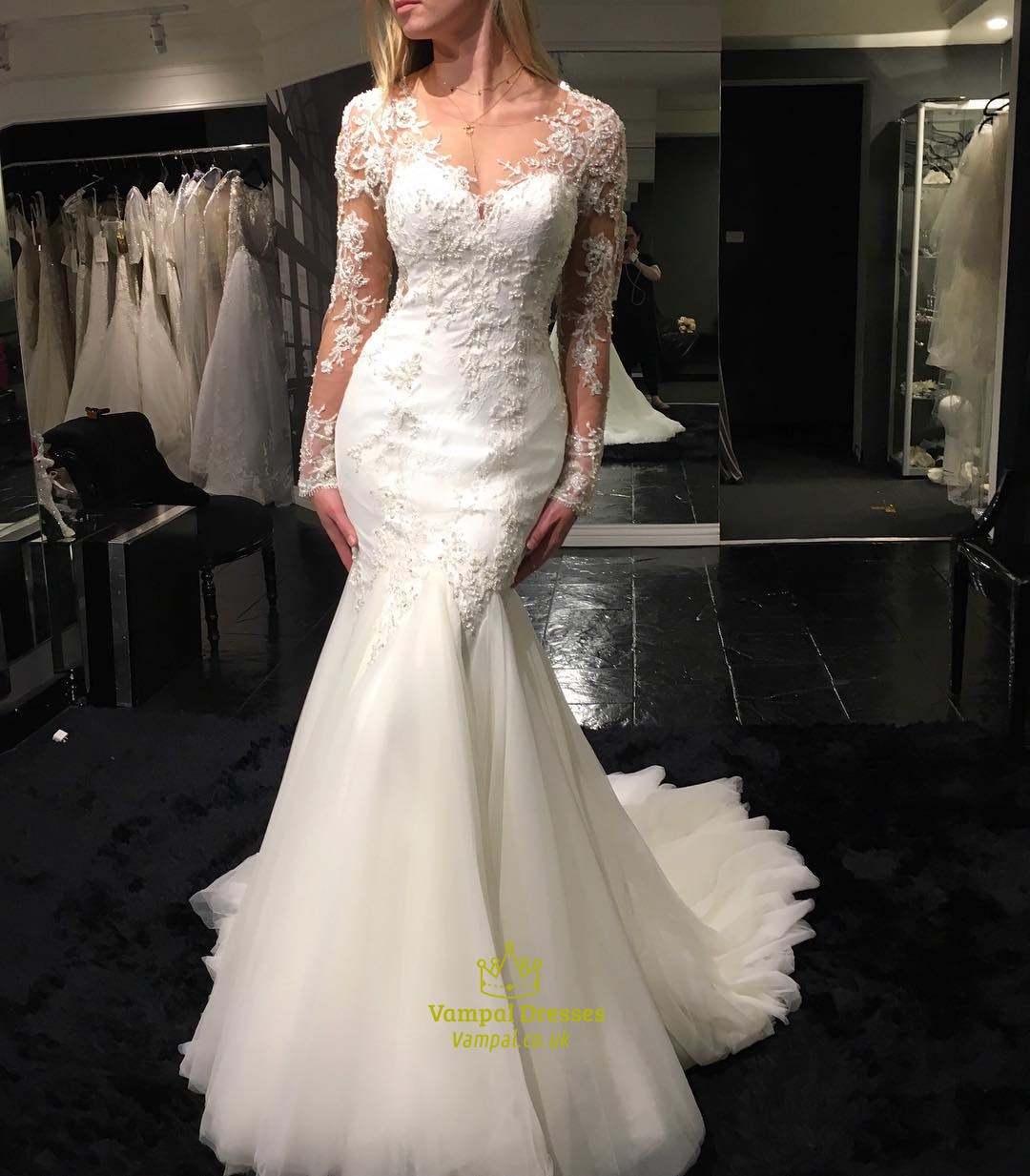 White Sheer Lace Top Long Sleeve Mermaid Wedding Dress With Train ...