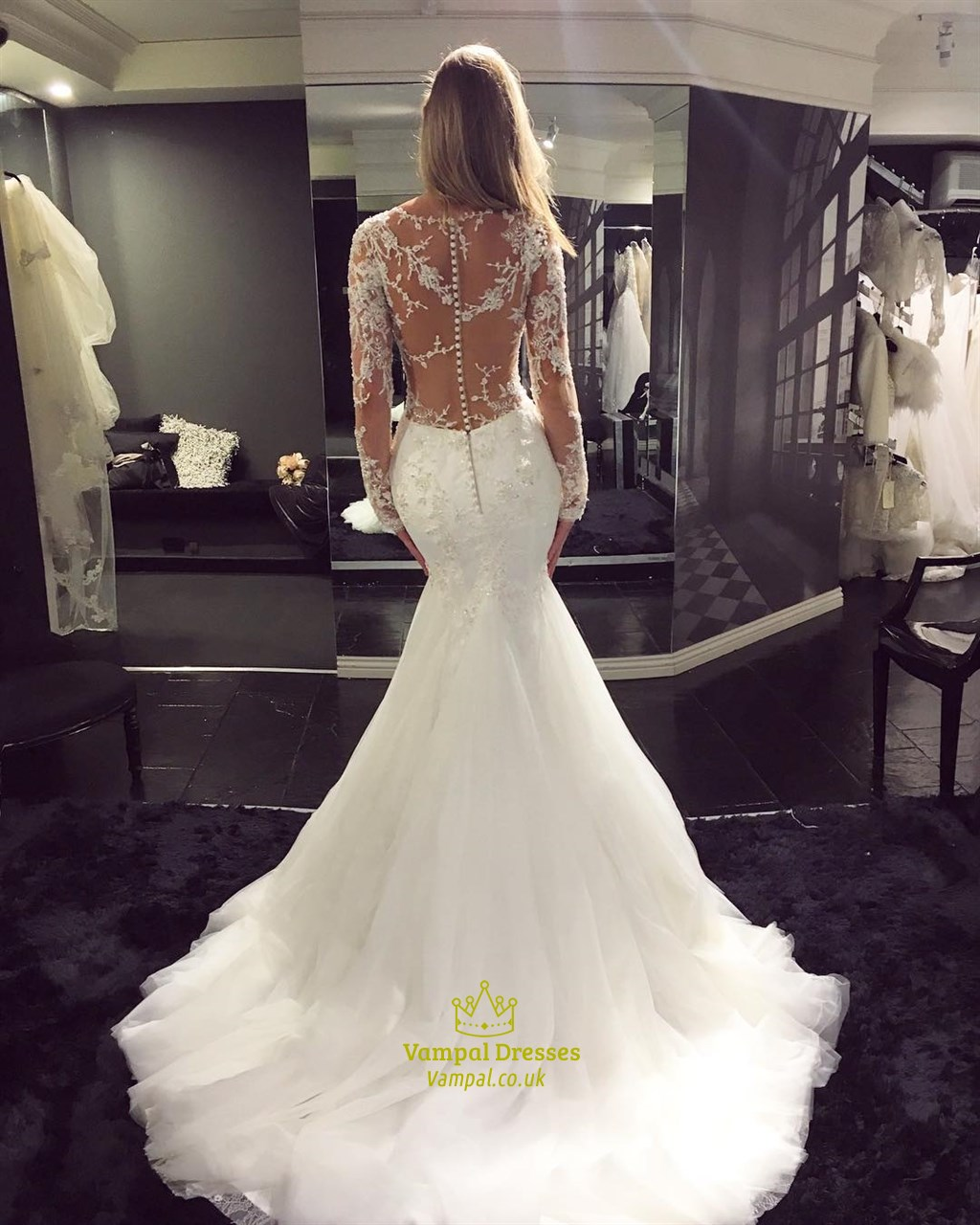 White Sheer Lace Top Long Sleeve Mermaid Wedding Dress With Train Vampal Dresses,Casual Wedding Dresses For Men Sri Lanka
