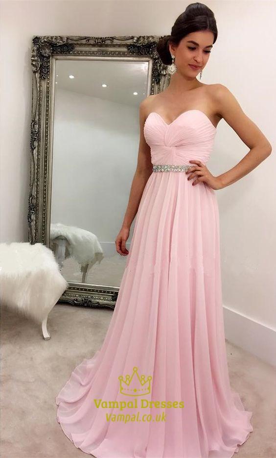 a80986eb0ee Pink Strapless Criss Cross Bodice Beaded Empire Bridesmaid Dress SKU -FS1429