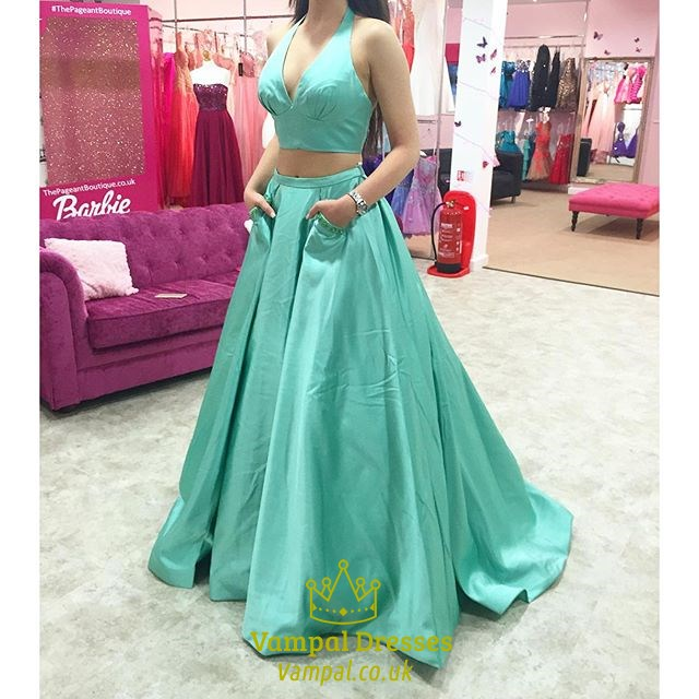 Teal Two Piece V Neck Halter Ball Gown Prom Dress With Pockets ...