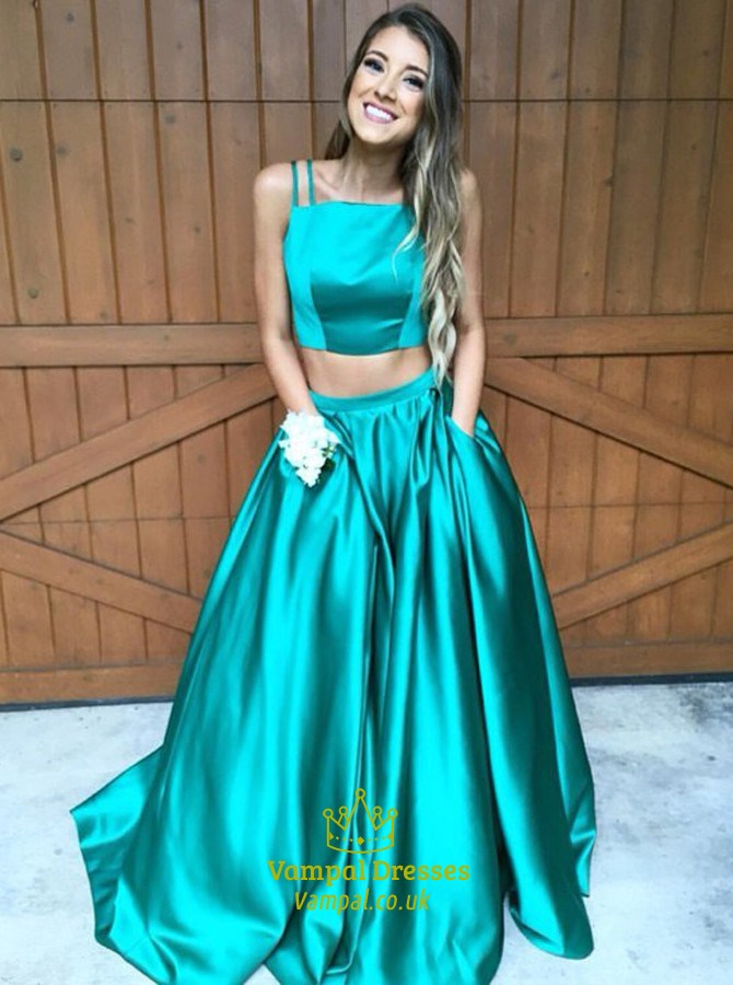 Teal Two Piece Floor Length Ball Gown Prom Dress With Pockets ...