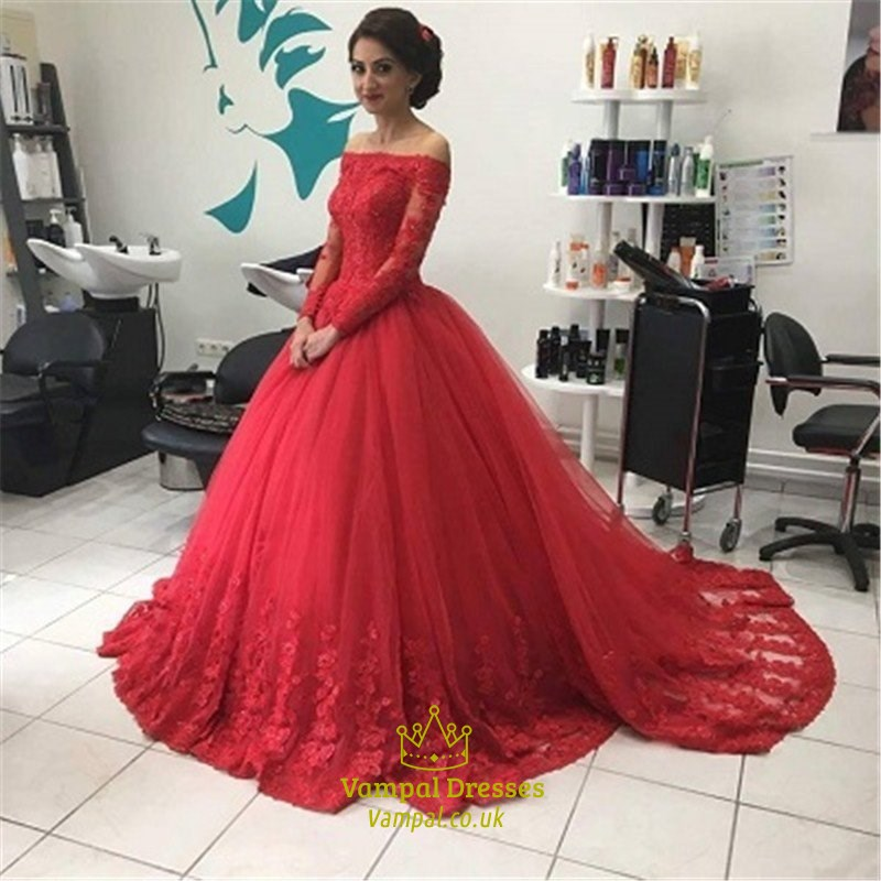 Red Lace Off The Shoulder Long Sleeve Ball Gown Wedding Dress ...