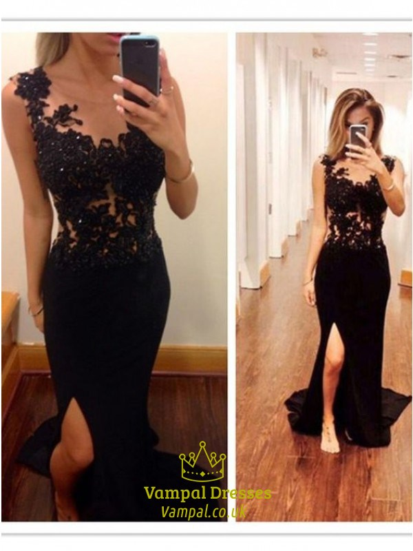 Black Lace Applique Mermaid Long Prom Dress With Side Cutouts ...