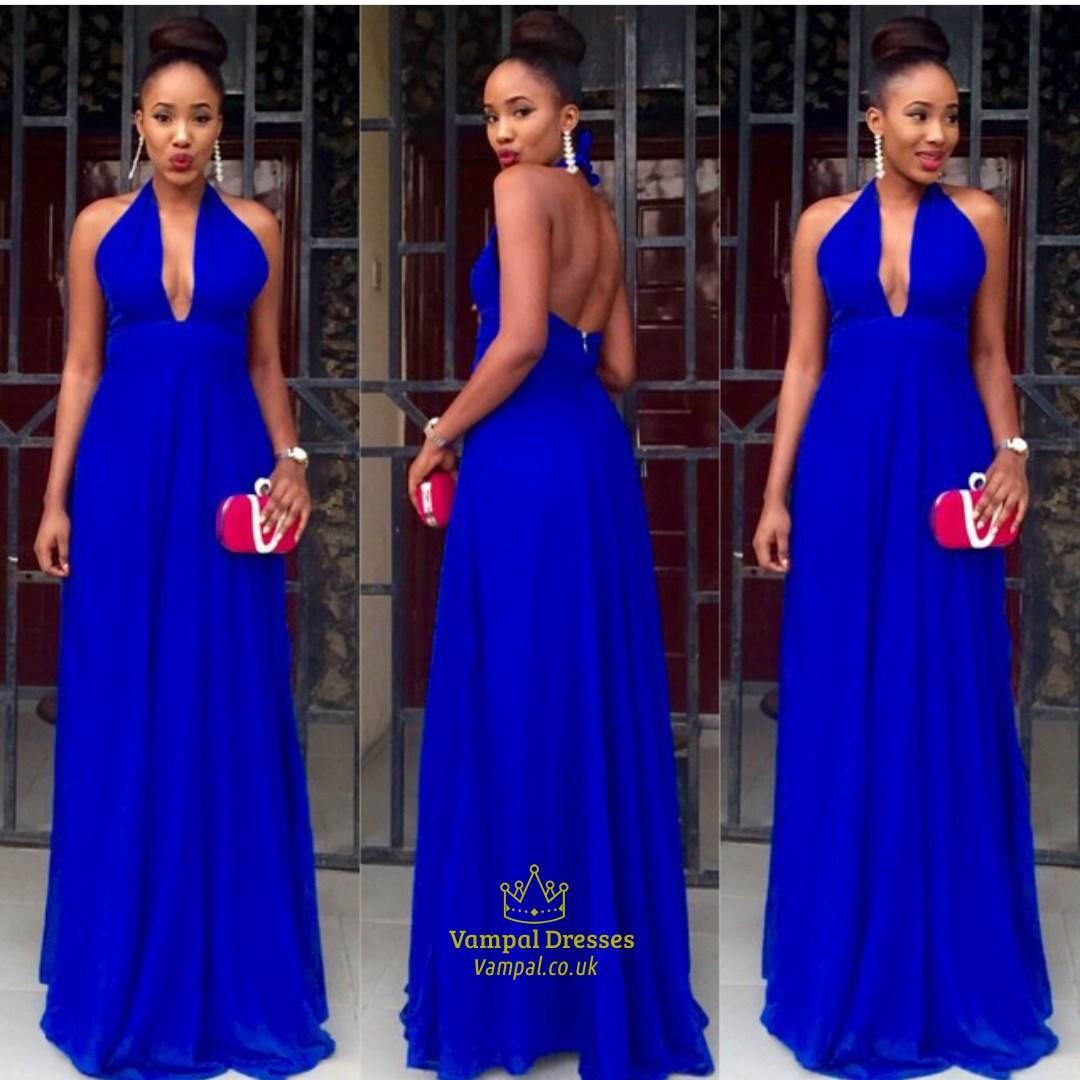 Halter Royal Blue Prom Dress