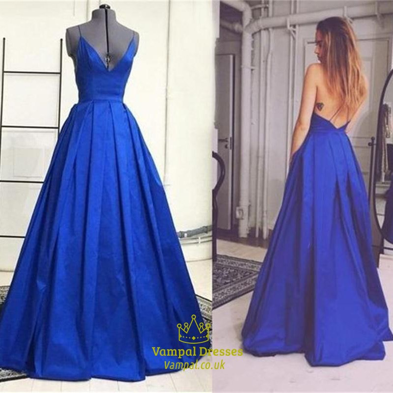 Royal Blue V Neck Spaghetti Strap Backless Ball Gown Prom Dress ...