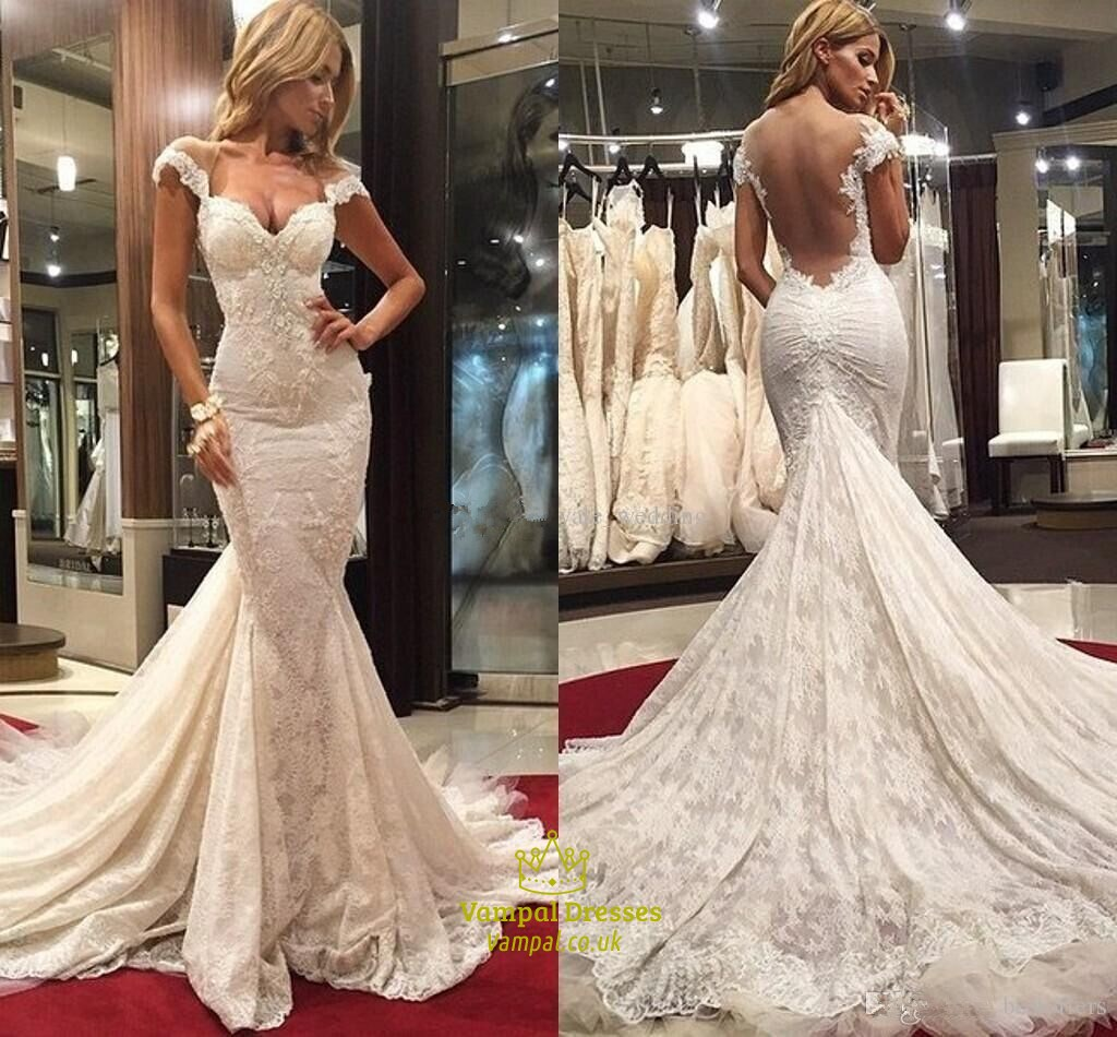 Ivory backless cap sleeve lace mermaid wedding dress with for Mermaid wedding dress with train