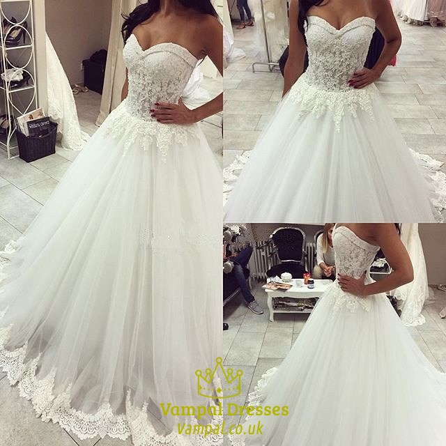 White Strapless Tulle Ball Gown Wedding Dress With Embellishments ...