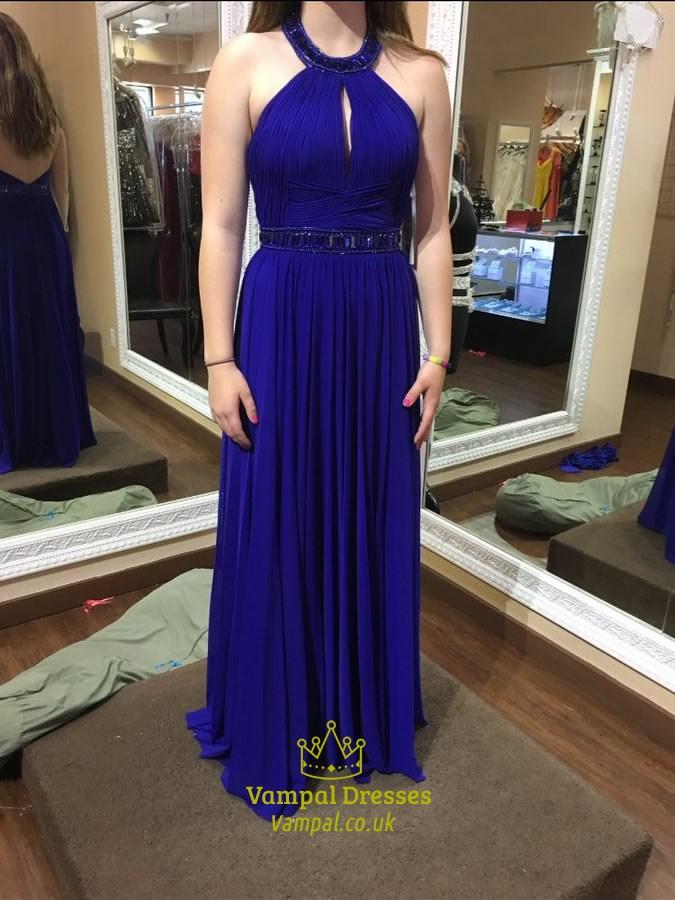 Royal Blue Halter Neck Beaded Open Back Chiffon Prom Dress