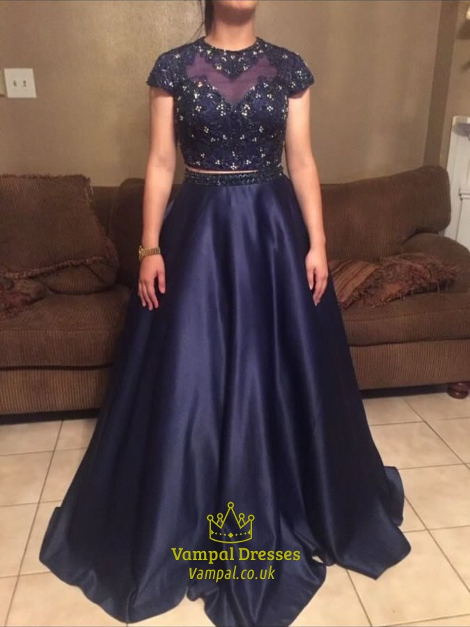 Navy Blue Two Pieces Lace Embroidery Top Backless Ball Gown Dress ...