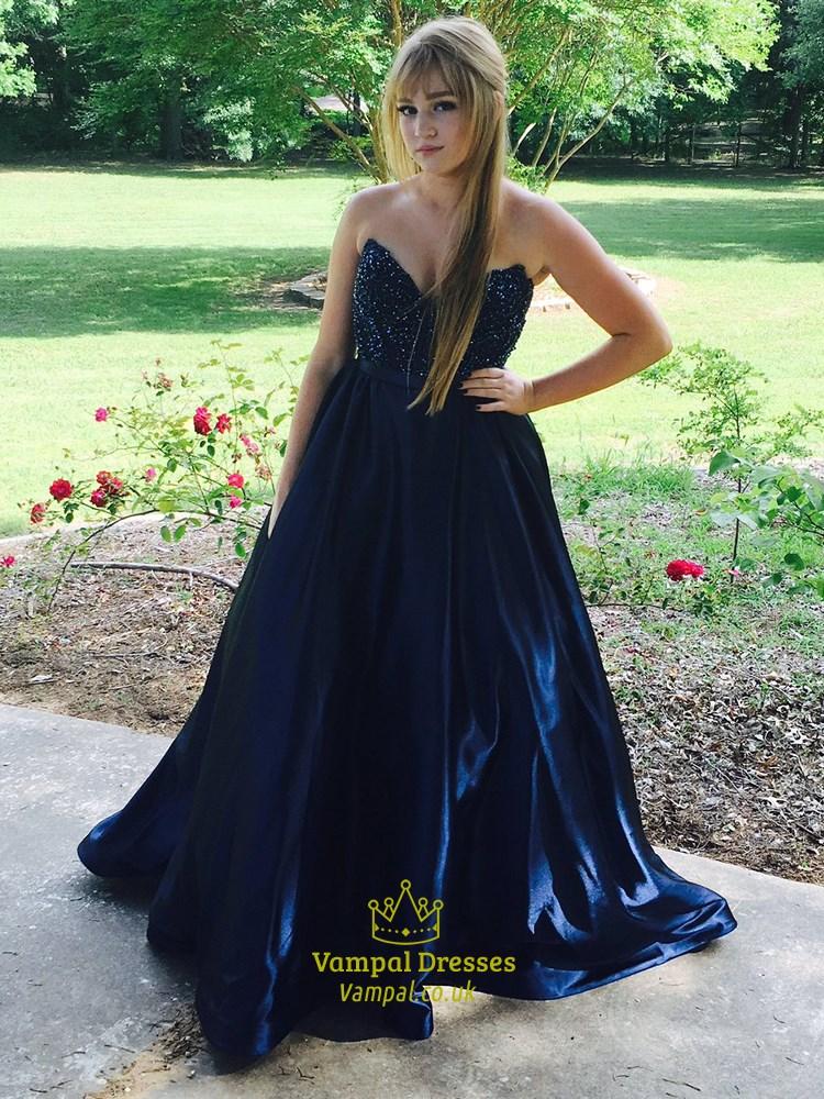 f5ec0e9d62947 Navy Blue Strapless Beaded Bodice Floor Length Ball Gown Prom Dress