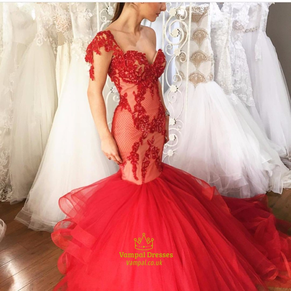 6348123fa17f Red Strapless Lace Embellished Top Dropped Waist Mermaid Wedding Dress