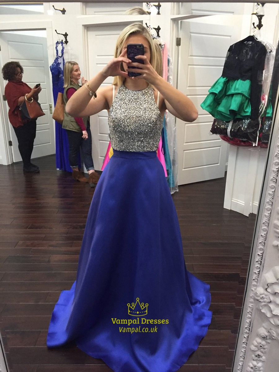 Royal Blue Sequin Top Floor Length Ball Gown Prom Dress Vampal Dresses