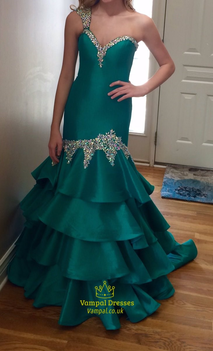 Teal One Shoulder Sweetheart Beaded Floor Length Mermaid