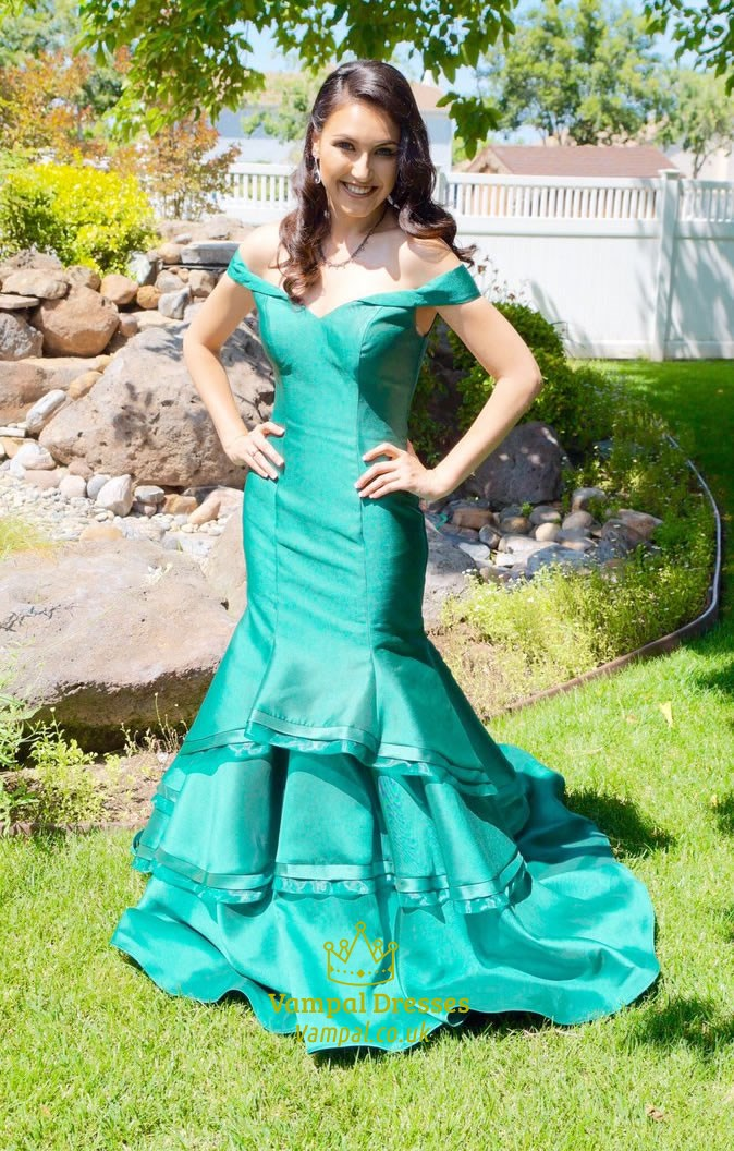 Teal Off The Shoulder Sweetheart Mermaid Long Evening
