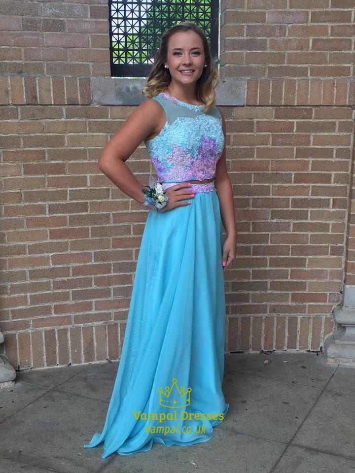 Aqua Blue Lace Embellished Sleeveless Two Piece Prom Dress
