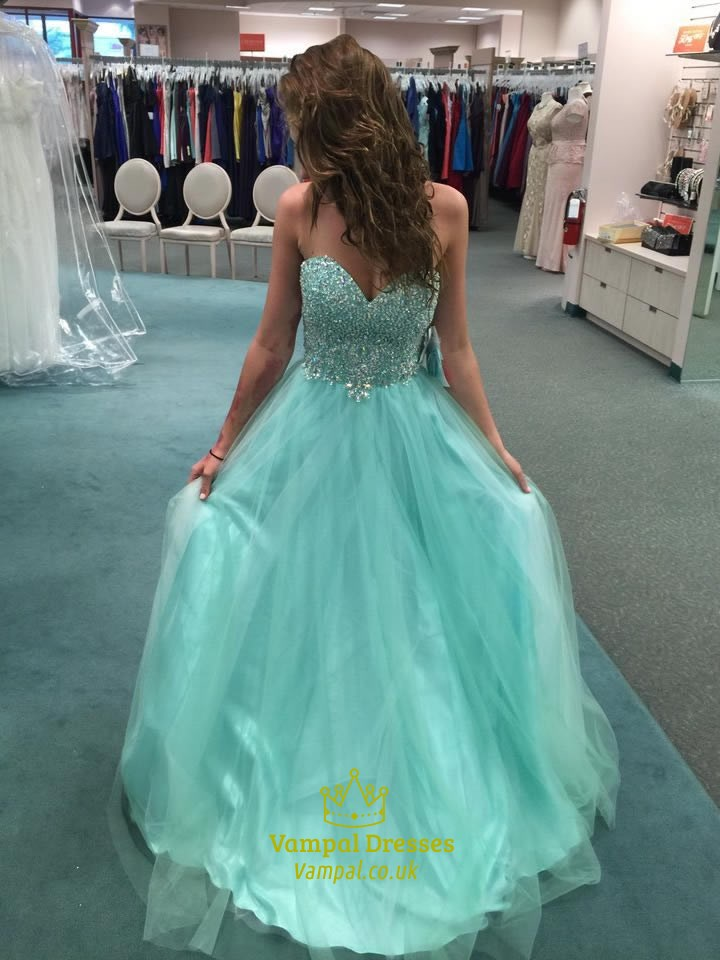 turquoise strapless sweetheart backless long beaded bodice