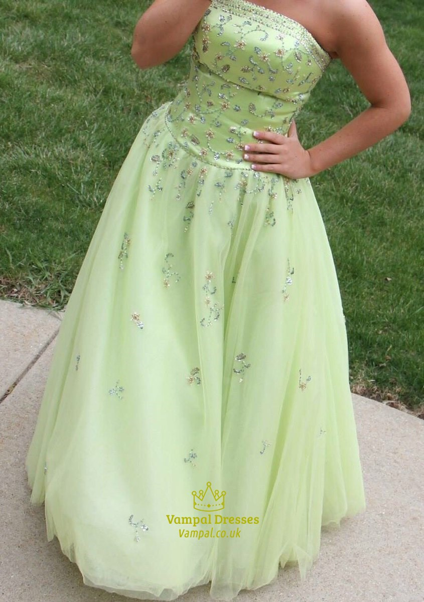 Mint Green Strapless Beaded Embellished Ball Gown Prom Dress ...