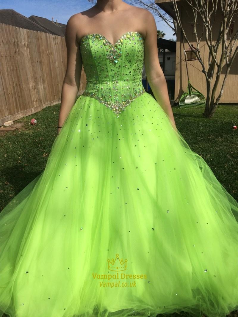 Mint Green Strapless Beaded Floor Length Ball Gown Prom Dress ...