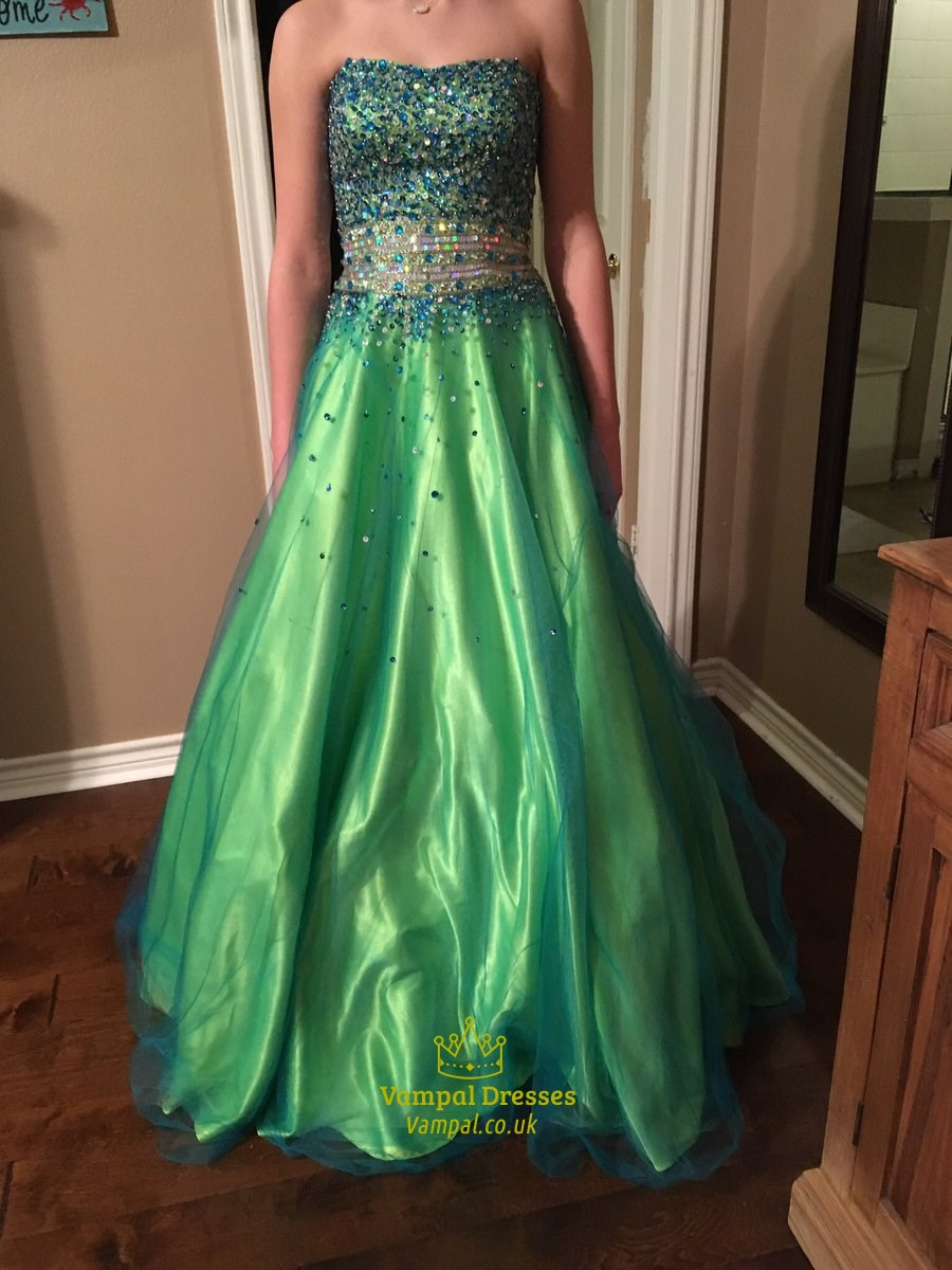 Green Strapless Sequin Embellished Tulle Ball Gown Prom