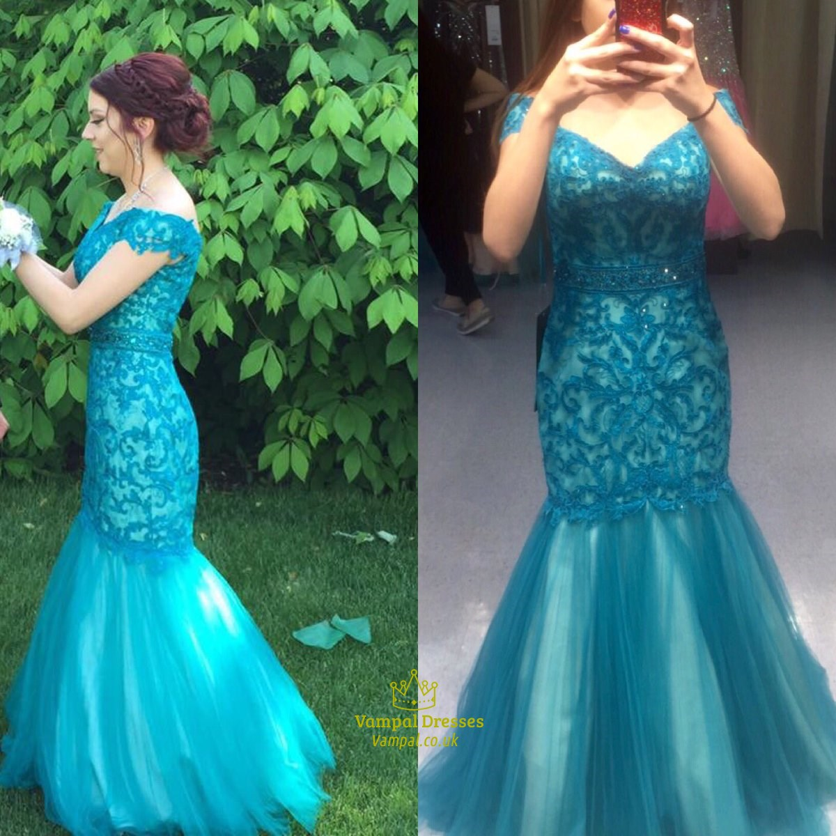 Teal V Neck Short Sleeve Lace Floor Length Mermaid Prom