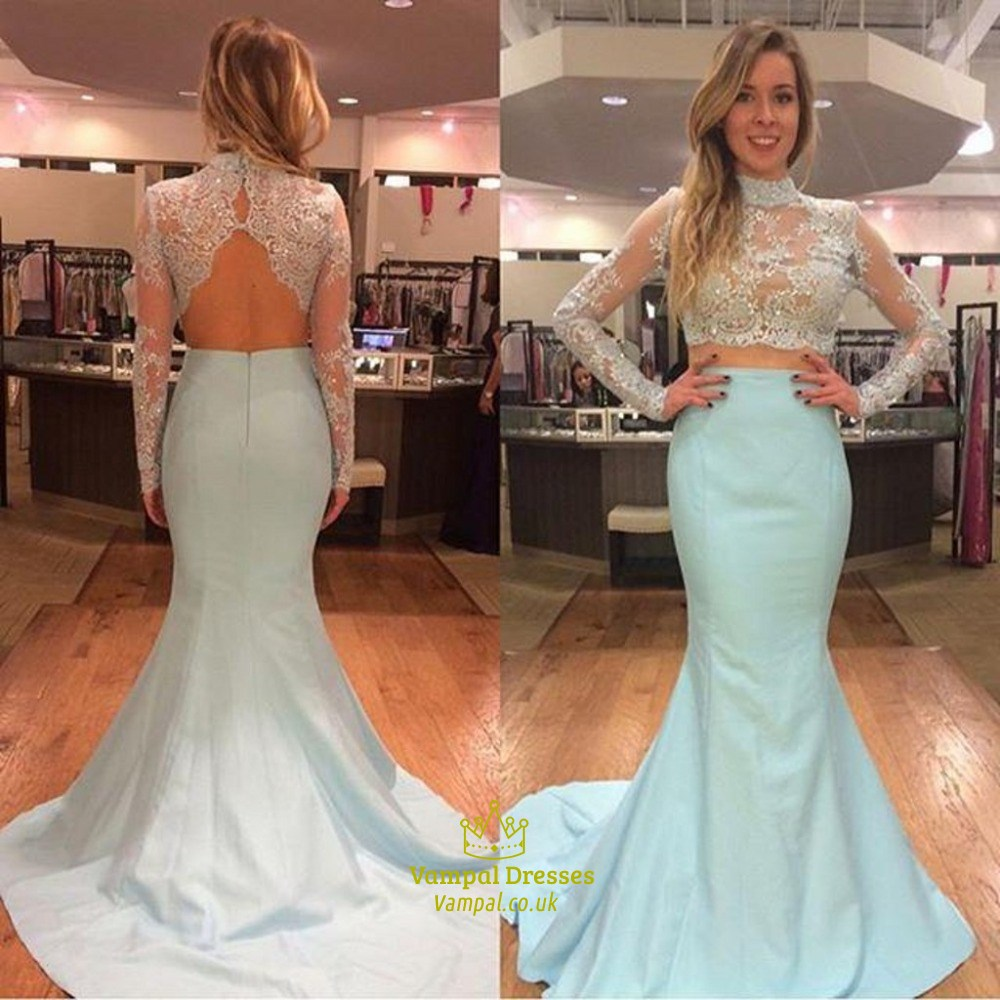 0fa6f44ab2b4 Light Blue High Neck Lace Top Long Sleeve Mermaid Two Piece Prom Dress SKU  -FS1613
