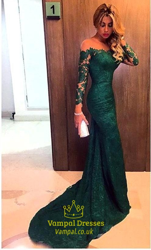 8ac3aa45bb Emerald Green Off The Shoulder Sheer Sleeves Mermaid Lace Prom Dress SKU  -AP206