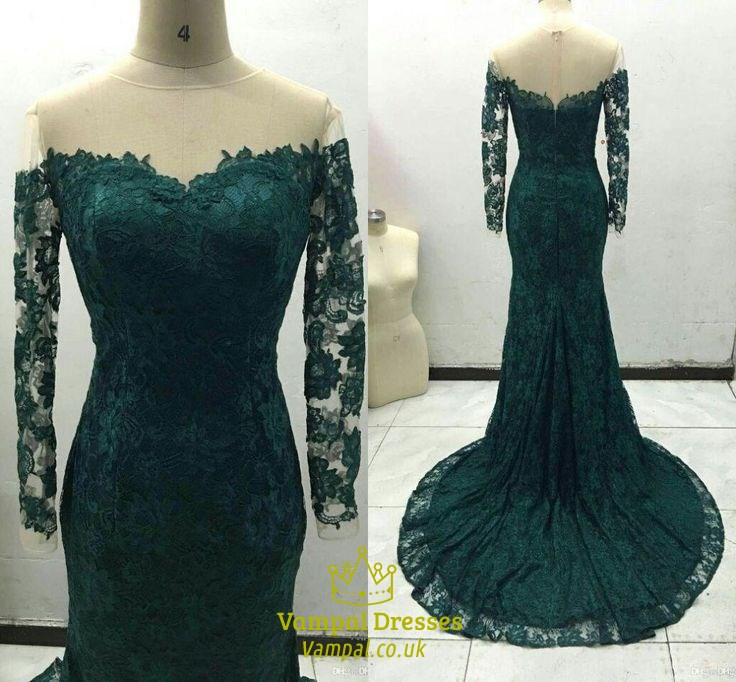 a192fd03d64 Emerald Green Off The Shoulder Sheer Sleeves Mermaid Lace Prom Dress ...