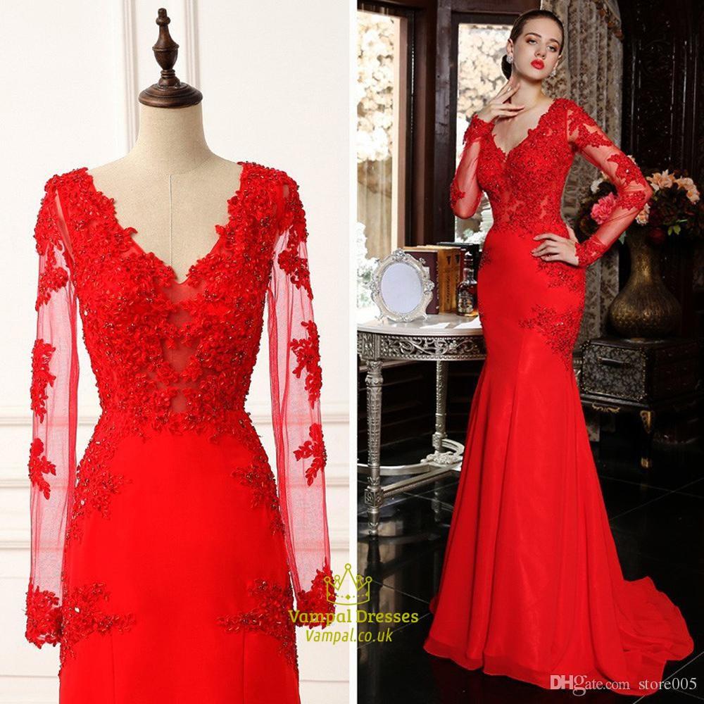 Red Sheer Lace Long Sleeve Mermaid Floor Length Prom Dress