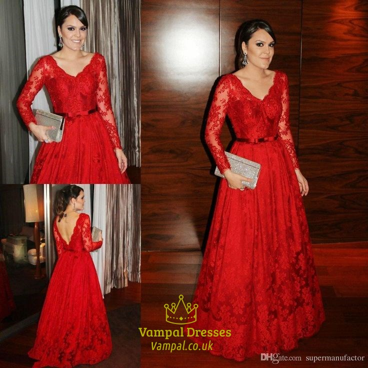 Red Lace V Neck Open Back Long Sleeve Full Length Formal Dress ...