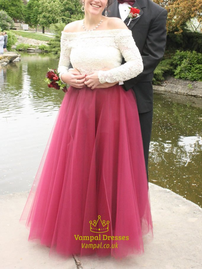 Two Tone Off The Shoulder Lace Top Long Sleeve Ball Gown Prom Dress ...