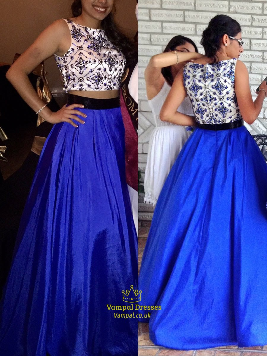 Royal Blue Lace Bodice Sleeveless Long Ball Gown Formal Dress ...