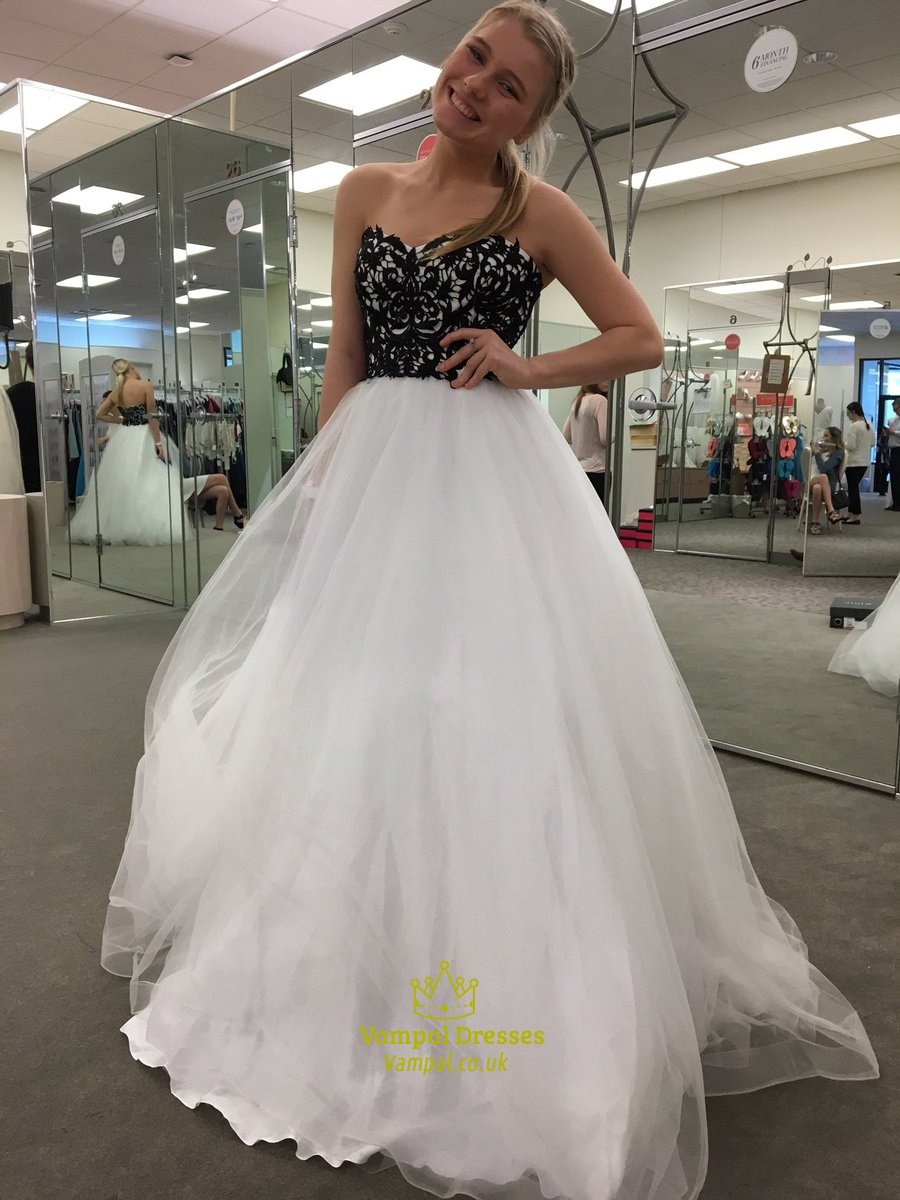 White Strapless Lace Embellished Top Tulle Ball Gown Prom
