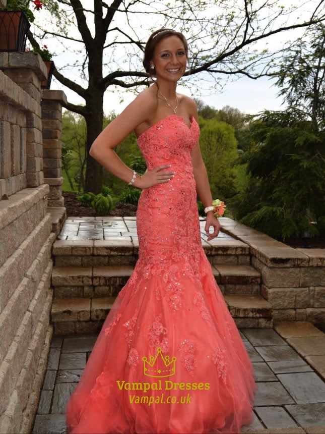 coral strapless mermaid lace embellished floor length