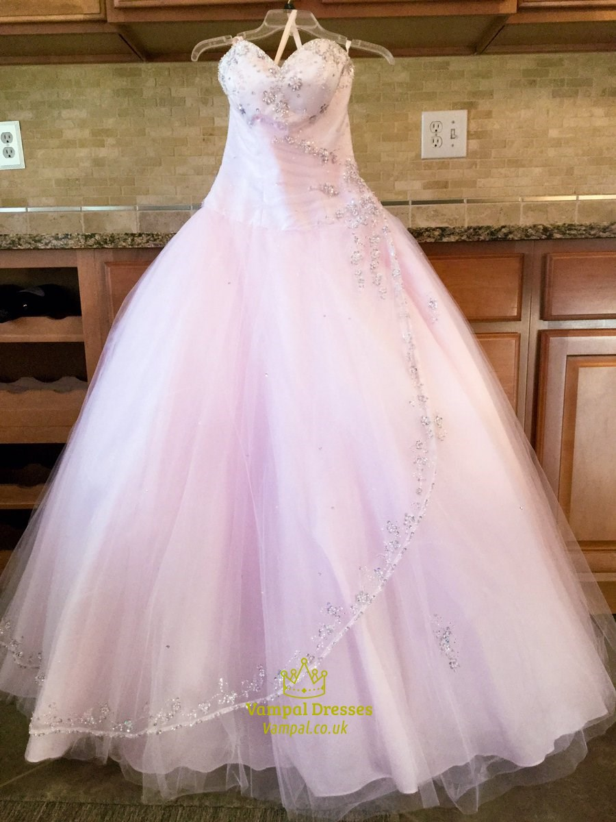 Blush Pink Strapless Sweetheart Beaded Sequin Embellished Ball Gown ...