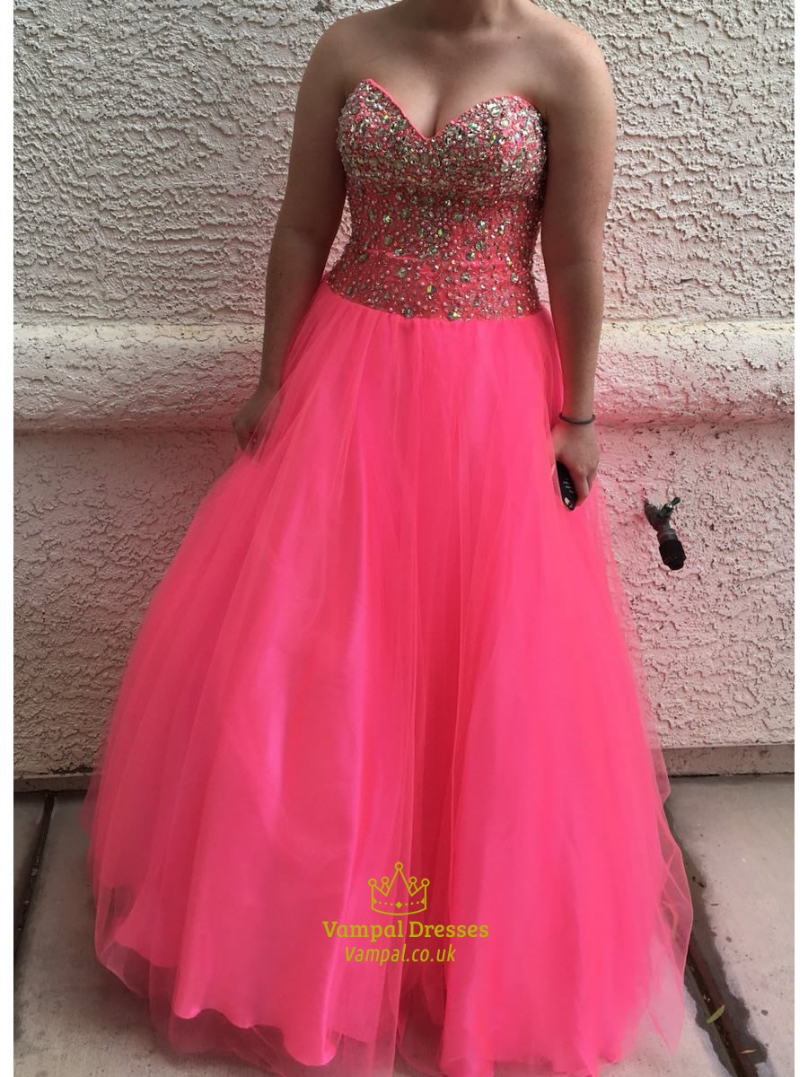 Hot Pink Strapless Sweetheart Beaded Bodice Tulle Ball