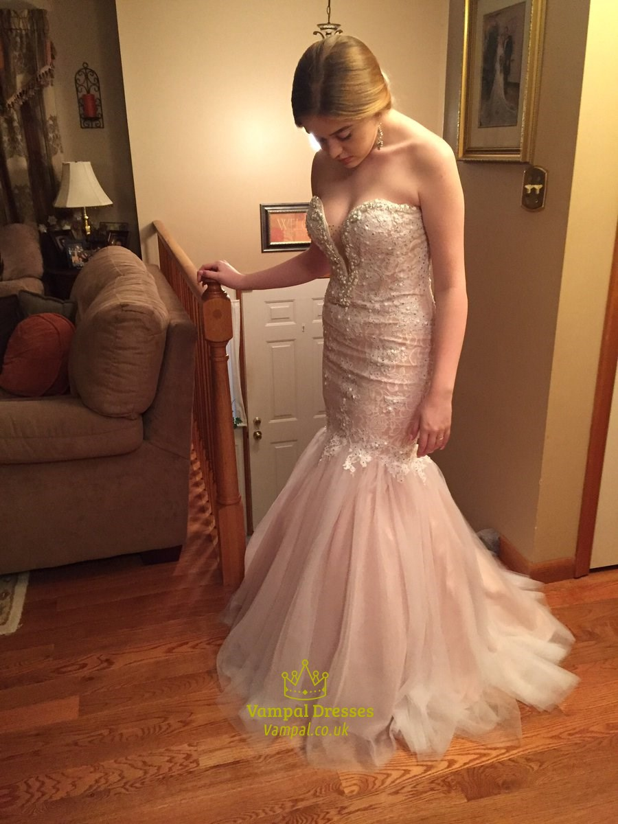 Blush Pink Strapless Beaded Mermaid Embellished Lace Prom