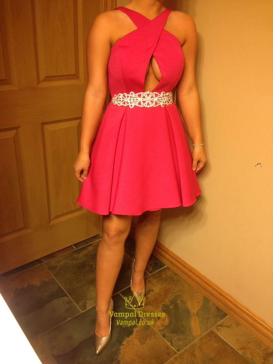 Hot Pink Embellished Beaded Waist Cocktail Dress With Keyhole Front ...