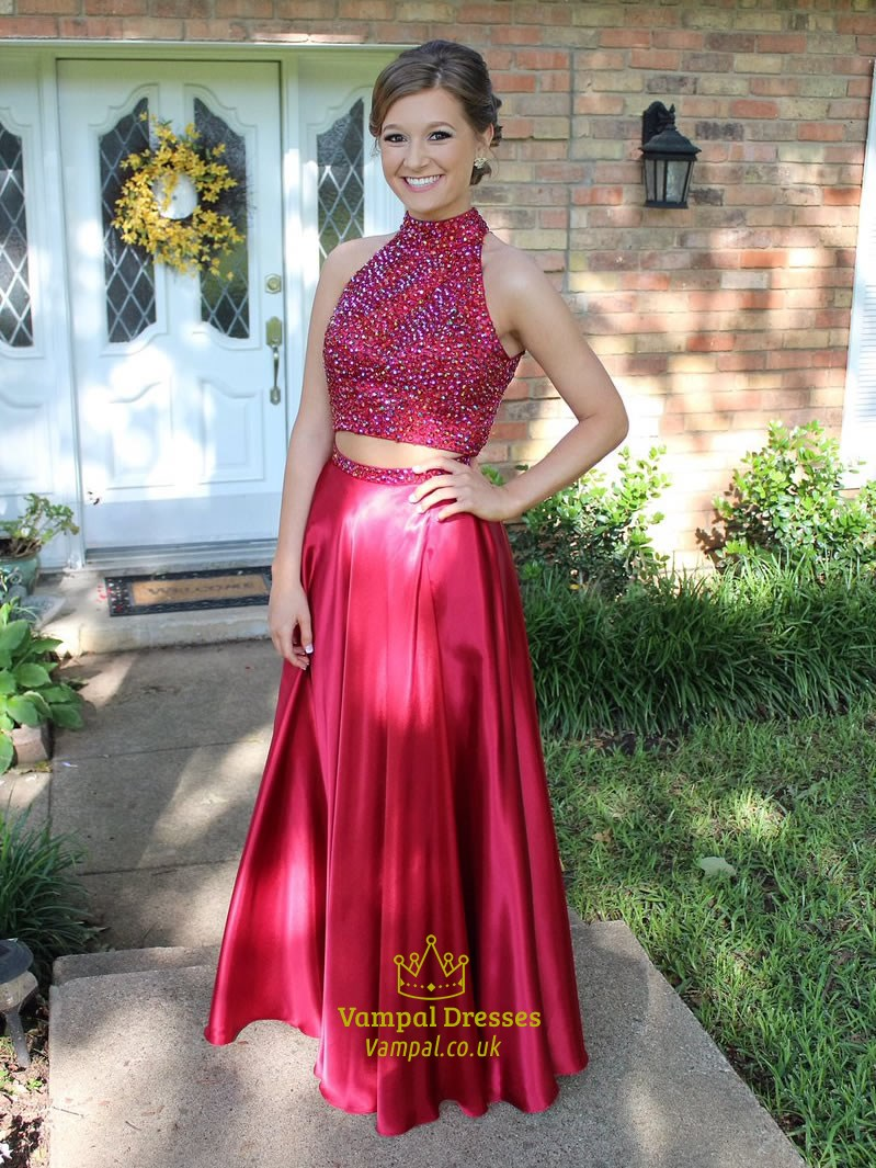 4aa70ccc0666da Red Two Piece High Neck Beaded Bodice Open Back Prom Dress | Vampal ...