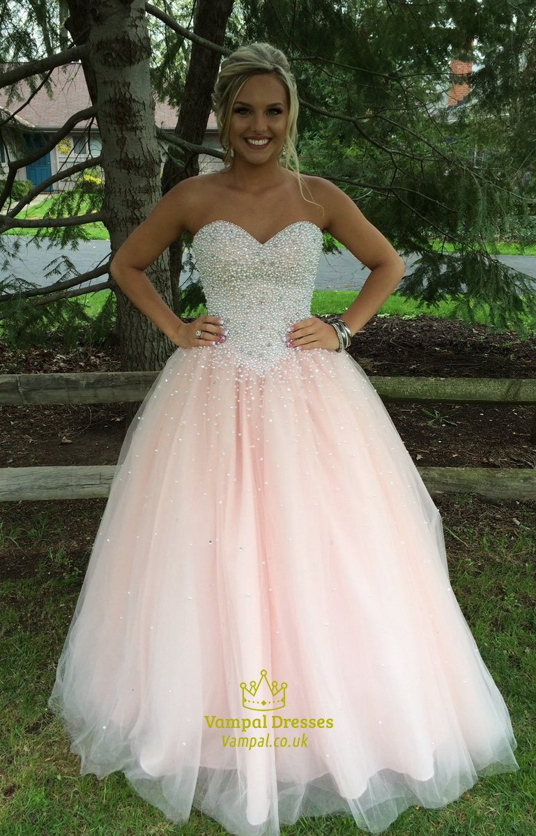 Light Pink Strapless Beaded Bodice Tulle Ball Gown Prom Dress ...